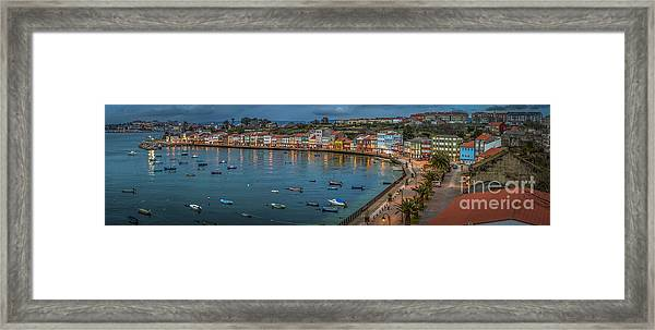 Mugardos Panorama Galicia Spain Framed Print