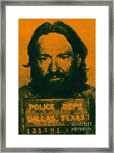 Mugshot Willie Nelson P0 Framed Print