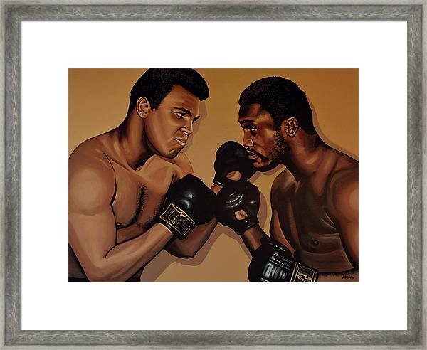 Muhammad Ali And Joe Frazier Framed Print