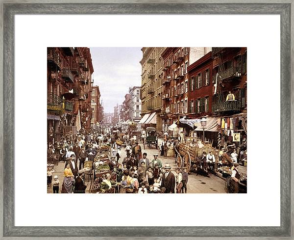 Mulberry Street, New York, Circa 1900 Framed Print by Science Photo Library