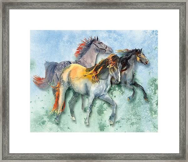Da132 Multi - Horses Daniel Adams Framed Print