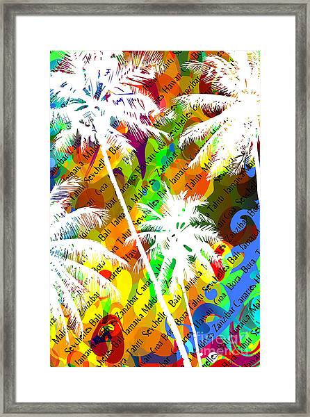 Multicolor Abstract Tropical Background Framed Print