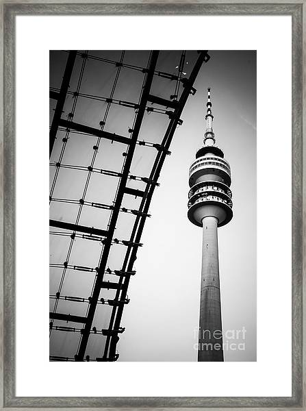 Munich - Olympiaturm And The Roof - Bw Framed Print