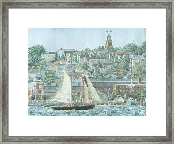 Framed Print featuring the drawing Munjoy Hill by Dominic White