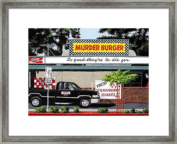 Murder Burger Framed Print by Paul Guyer