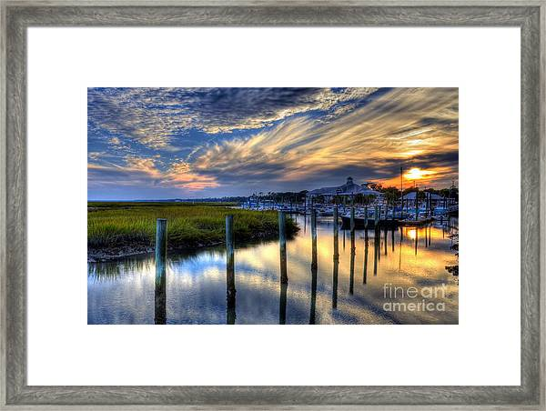 Framed Print featuring the photograph Murrells Inlet Sunset 1 by Mel Steinhauer