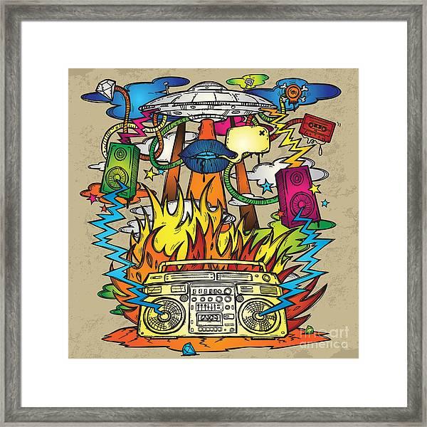 Music Background. Stylish Grunge Framed Print