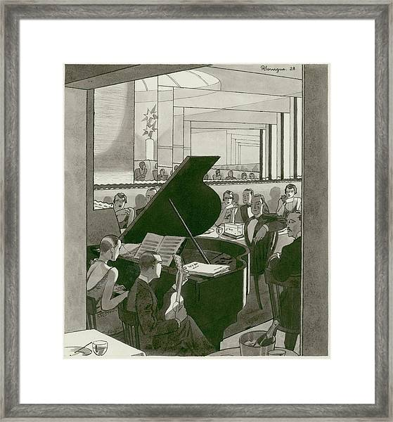 Musicians Entertain Patrons Framed Print by Pierre Mourgue