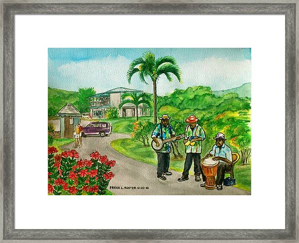 Musicians On Island Of Grenada Framed Print