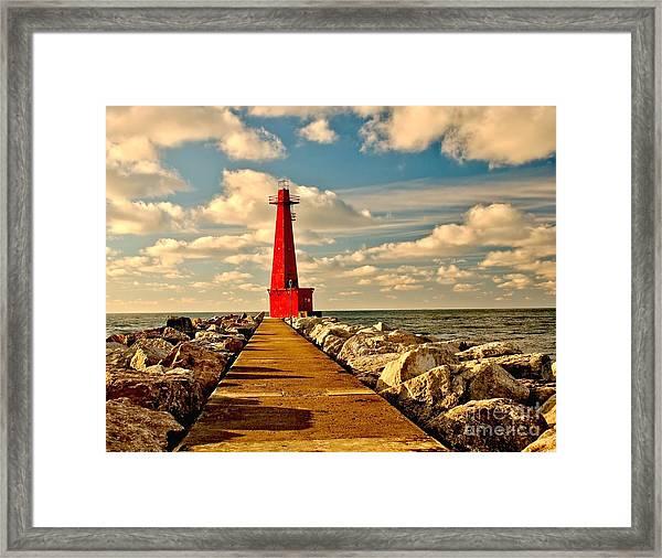Muskegon South Pier Light Framed Print