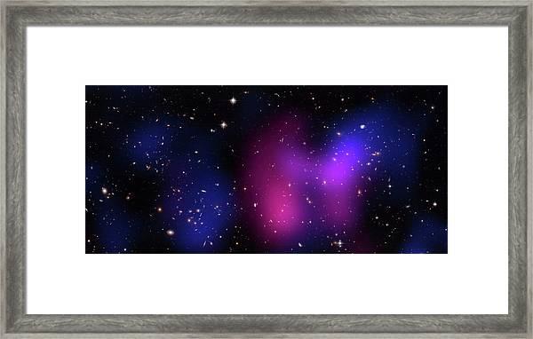 Musketball Galaxy Cluster Framed Print by X-ray: Nasa/cxc/caltech/a.newman Et Al/tel Aviv/a.morandi & M.limousin; Optical: Nasa/stsci, Eso/vlt, Sdss