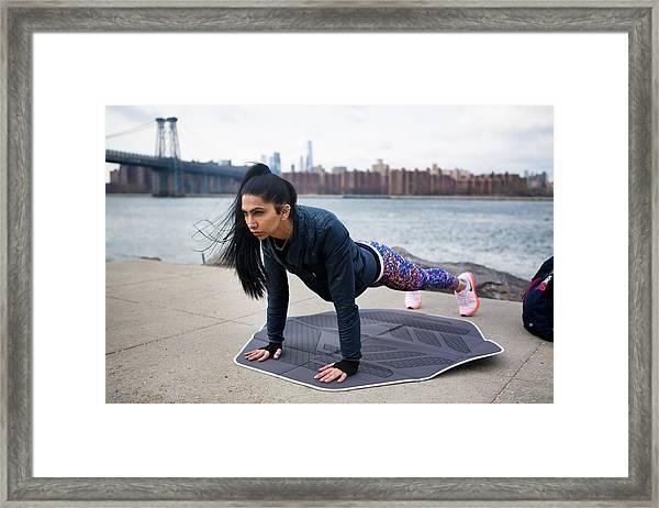 #muslimgirl Working Out Framed Print by Muslim Girl