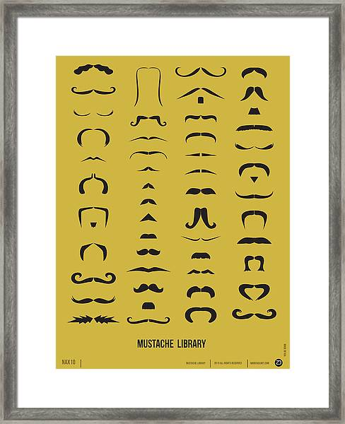 Mustache Library Poster Framed Print