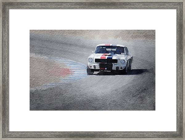 Mustang On Race Track Watercolor Framed Print