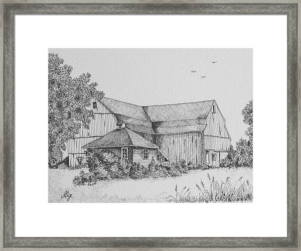Framed Print featuring the drawing My Barn by Gigi Dequanne