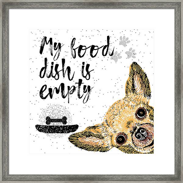 My Food Dish Is Empty. Vector Framed Print