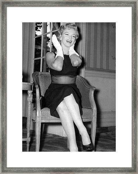 Bashful Marilyn Monroe Framed Print