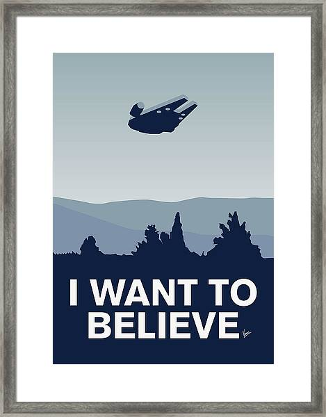 My I Want To Believe Minimal Poster-millennium Falcon Framed Print