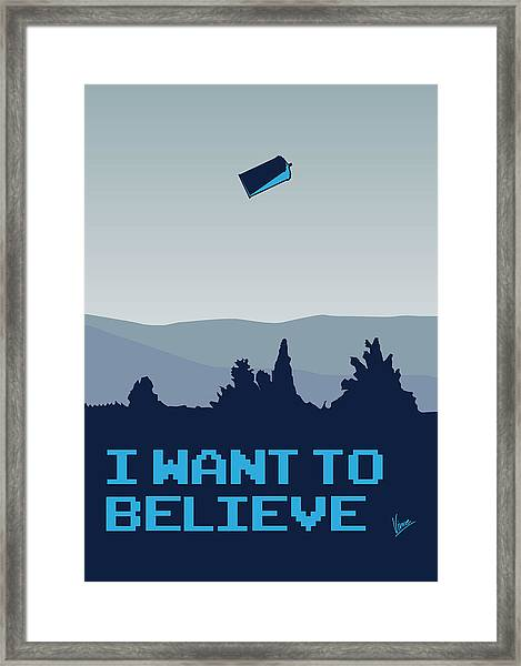 My I Want To Believe Minimal Poster- Tardis Framed Print