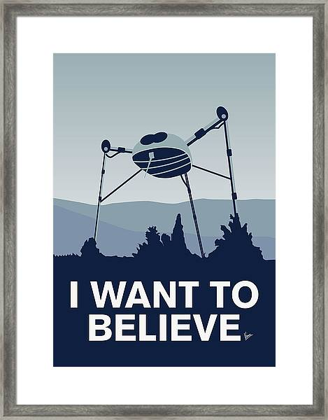 My I Want To Believe Minimal Poster-war-of-the-worlds Framed Print