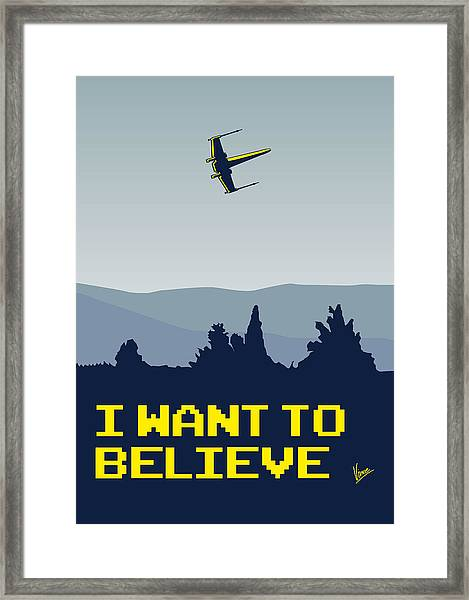 My I Want To Believe Minimal Poster- Xwing Framed Print