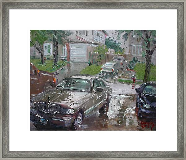 My Lincoln In The Rain Framed Print