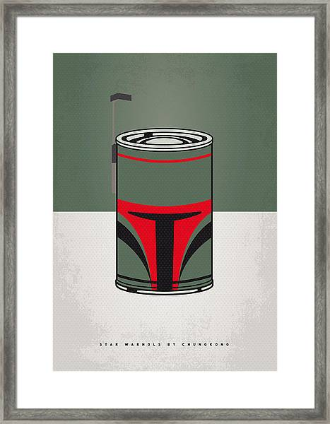 My Star Warhols Boba Fett Minimal Can Poster Framed Print