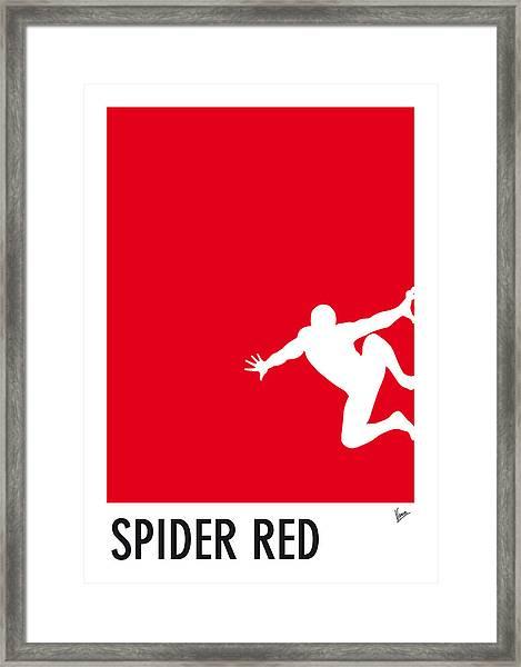 My Superhero 04 Spider Red Minimal Poster Framed Print