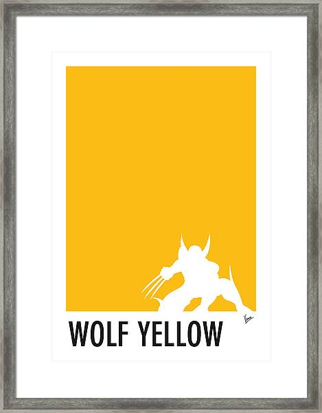 My Superhero 05 Wolf Yellow Minimal Poster Framed Print