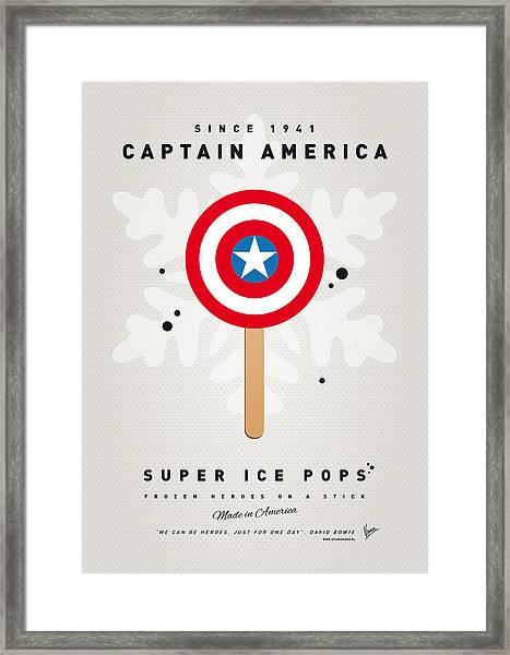 My Superhero Ice Pop - Captain America Framed Print