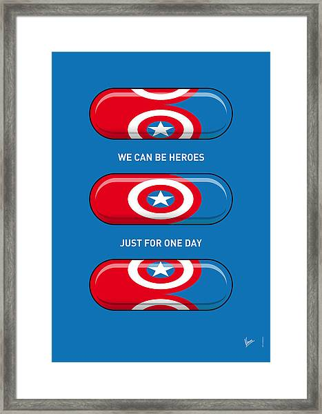 My Superhero Pills - Captain America Framed Print