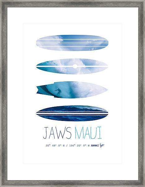 My Surfspots Poster-1-jaws-maui Framed Print