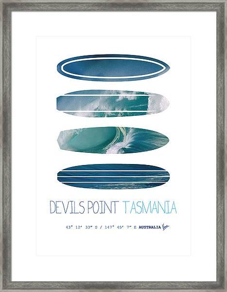 My Surfspots Poster-5-devils-point-tasmania Framed Print