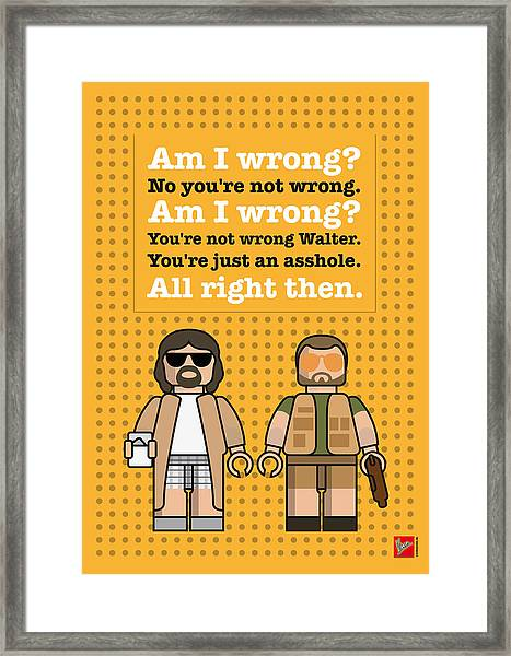 My The Big Lebowski Lego Dialogue Poster Framed Print