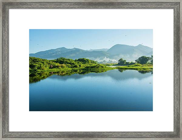 Myanmar Shan State Inle Lake Golden Framed Print
