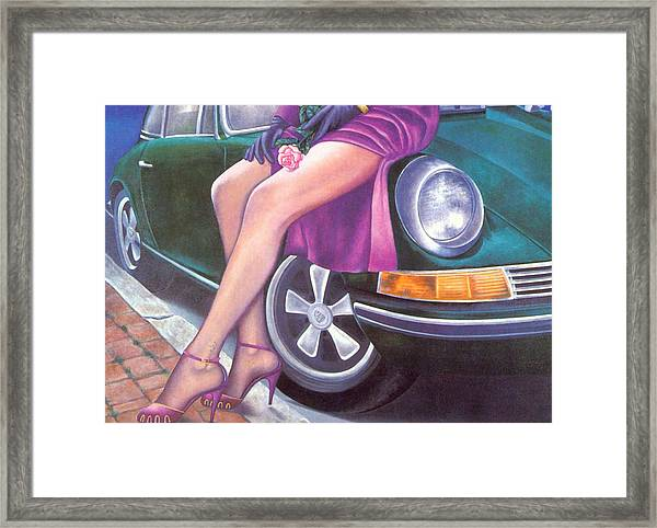 Mystery On Peter's Porsche Framed Print