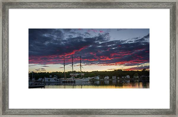 Mystic River Burning Sunset Framed Print