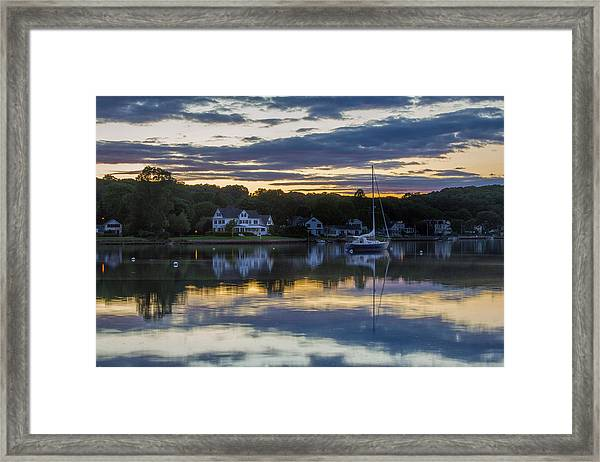Mystic River Sunset Reflection Framed Print