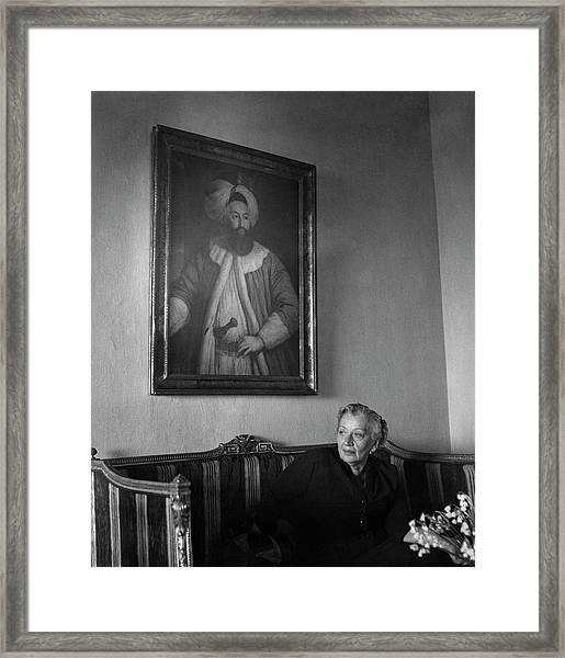 Naciye Killgil Sitting On A Sofa Framed Print