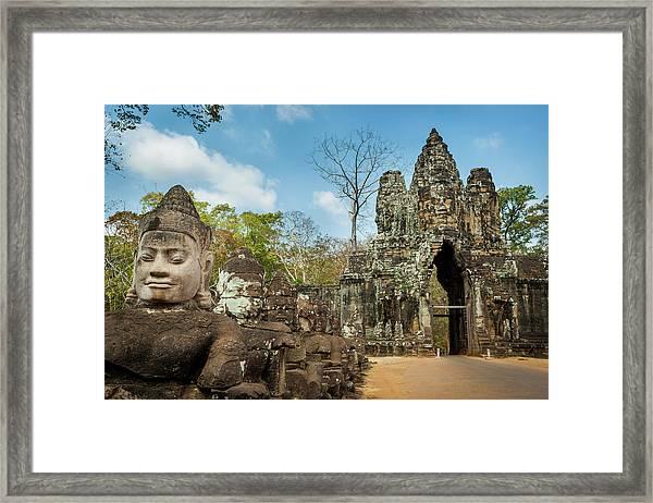Naga Statues On The Bridge To Angkor Framed Print