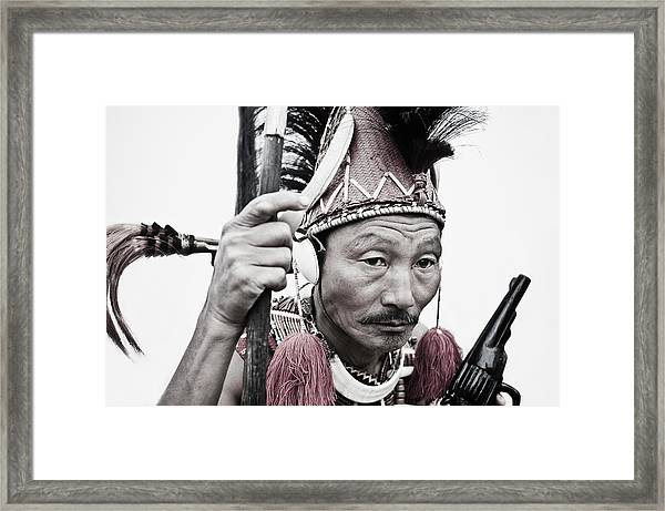 Naga Tribal Warrior In Traditional Framed Print by Exotica.im