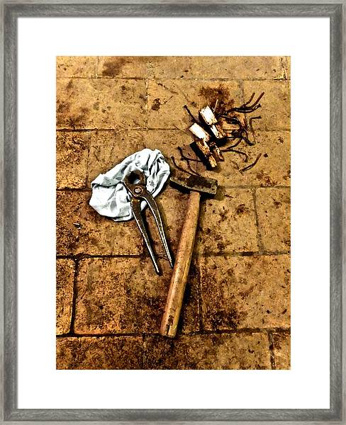 Nails Removed Framed Print