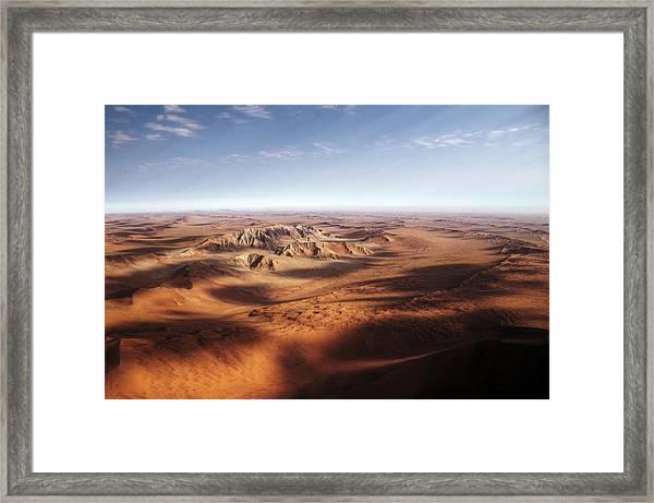 Namibian Sand Dunes View From Plane Framed Print by Mariusz Kluzniak