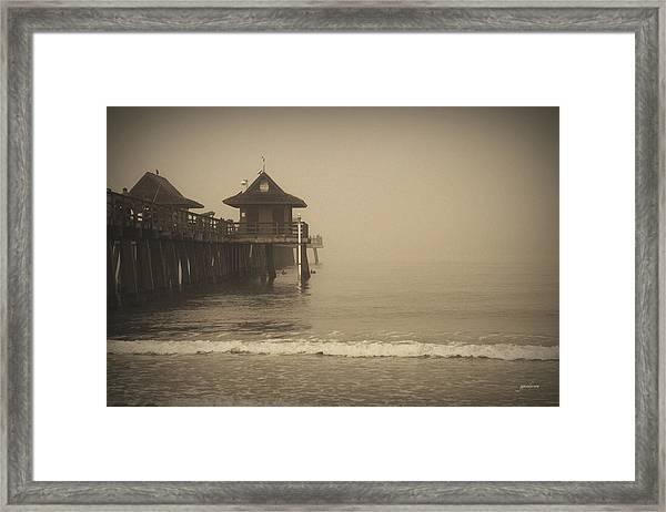 Naples Pier In The Fog Framed Print