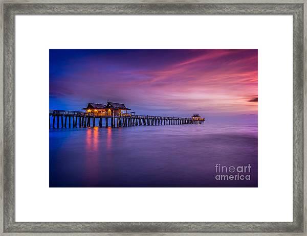 Naples Pier Purple Sunset Framed Print