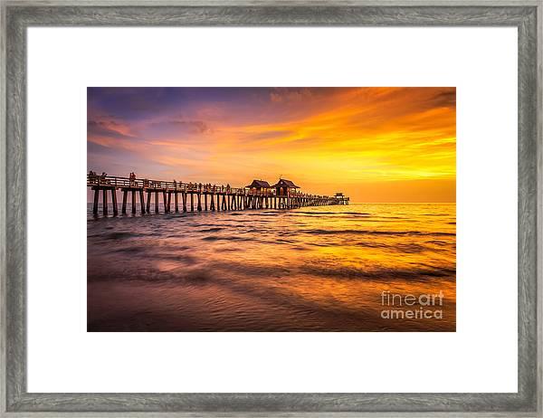 Naples Pier Sunset Framed Print