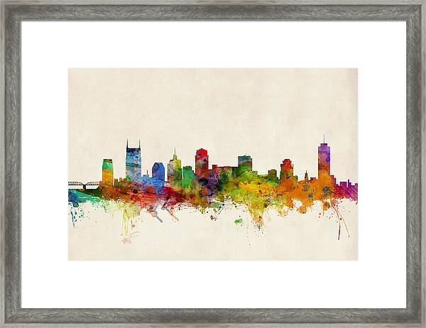 Nashville Tennessee Skyline Framed Print