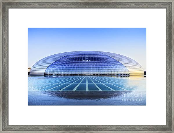 National Centre For The Performing Arts Beijing China Sunset Framed Print