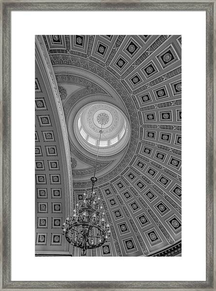 Framed Print featuring the photograph National Statuary Rotunda Bw by Susan Candelario