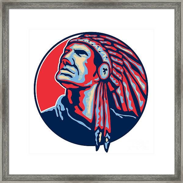 Native American Indian Chief Retro Framed Print
